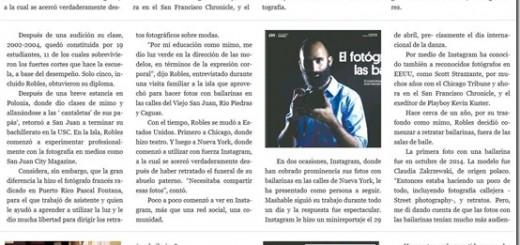 El fotógrafo Omar Roble es reseñado por el diario El Nuevo Dia acerca de sus fotografías de bailarinas.