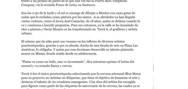 El artista urbano treck 6 es reseñado en el diario El Nuevo Dia.