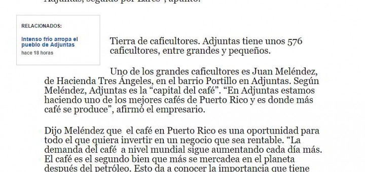 Donde se siembra mas café en Puerto Rico