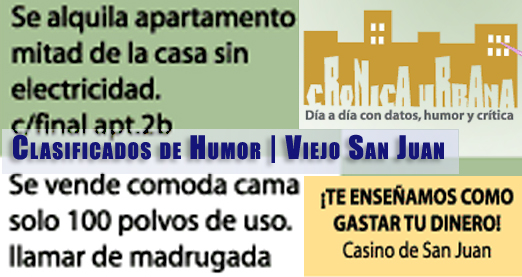 Clasificados de Humor. Crónica Urbana.