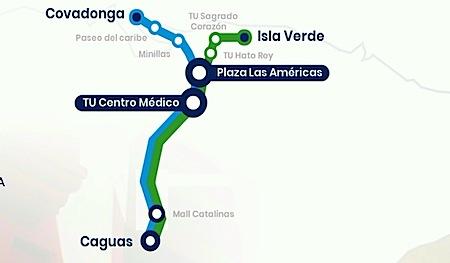 Ruta de los autobuses de Caguas a San Juan de la línea ALSA