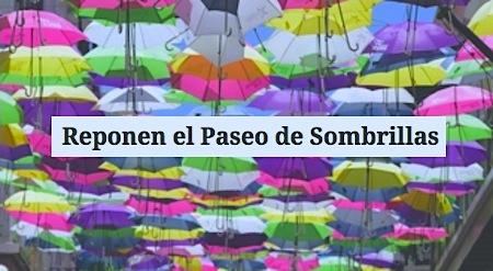 sombrillas de colores en san juan - Reponen el Paseo de Sombrillas