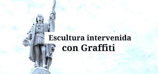 pintan genocida estatua cristobal colon 520x245 - Escultura intervenida con Graffiti